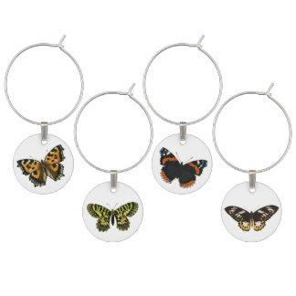 Vintage Butterfly Illustration Wine Charm Set