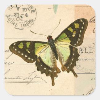 Vintage butterfly in green beautiful sticker