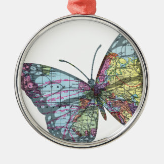 Vintage Butterfly Map Christmas Ornament