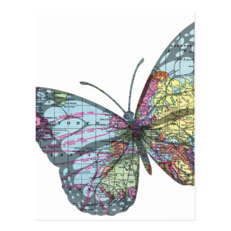 Vintage Butterfly Map Postcard