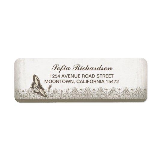 vintage butterfly old address labels