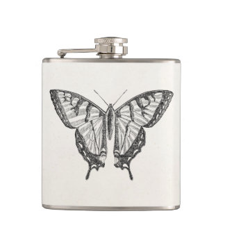 Vintage Butterfly Personalized Butterflies Insects Hip Flask
