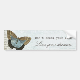 Vintage butterfly positive inspirational quote bumper sticker