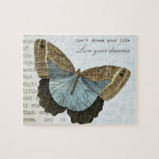 Vintage butterfly positive inspirational quote jigsaw puzzle