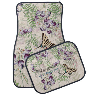 Vintage Butterfly Wildflower Flowers Floor Mats