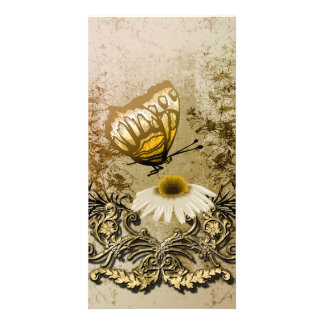 Vintage, butterfly with flowers picture card