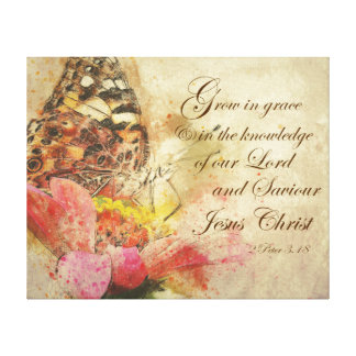 Vintage Butterfly with Grow in Grace Bible Verse Canvas Print