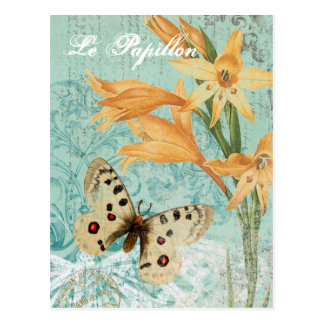 Vintage Butterfy and Lily postcard