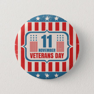Vintage button for Veterans day with American flag