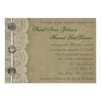 """Vintage Buttons and Lace Invitation 5"""" X 7"""" Invitation Card"""