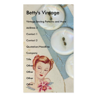 Vintage Buttons, Betty's Vintage Pack Of Standard Business Cards