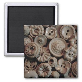 Vintage Buttons Square Magnet