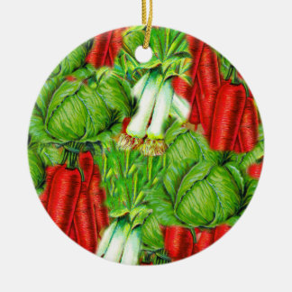Vintage Cabbage Carrots & Leek Collage Veg Design Christmas Ornament