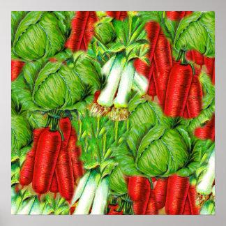 Vintage Cabbage Carrots & Leek Collage Veg Design Poster