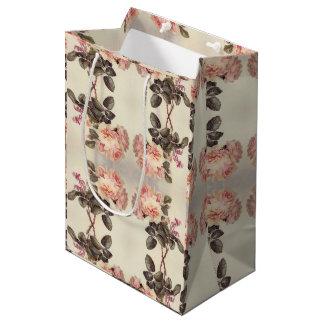 Vintage Cabbage Rose Flowers Bees Gift Bag