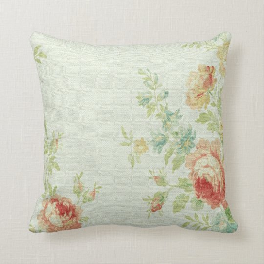 Vintage Cabbage Rose Throw Pillow-Pale Pink/Peach Cushion