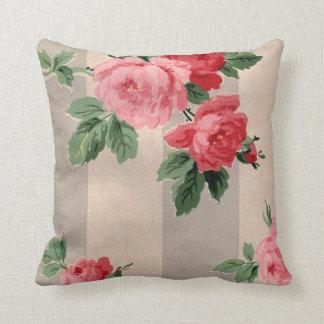 Vintage Cabbage Rose Wallpaper Throw Pillow