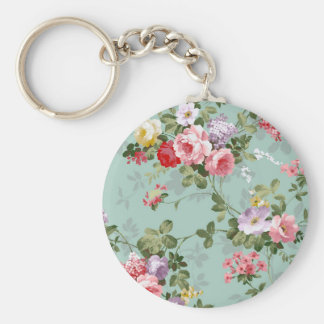 Vintage Cabbage Roses and Lilacs Basic Round Button Key Ring