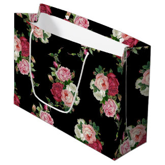 Vintage Cabbage Roses-Black Background Large Gift Bag
