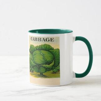 vintage cabbage seed packet mug