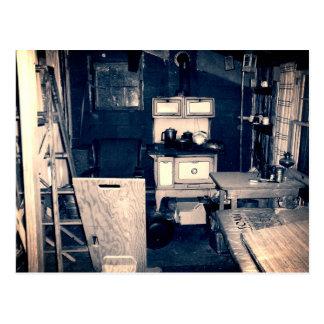 Vintage Cabin Interior Postcard