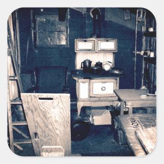 Vintage Cabin Interior Square Stickers