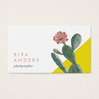 Vintage Cactus Colour Block Business Cards