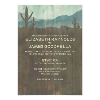 Vintage Cactus Wedding Invitations