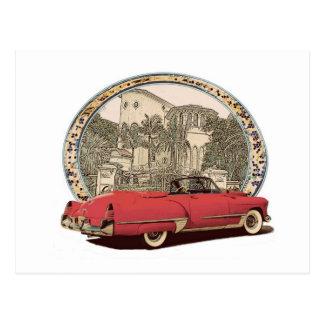 Vintage Caddy convertible Postcard