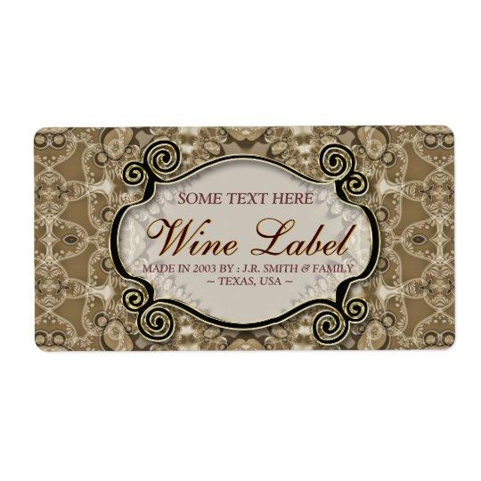 Vintage Cafe Latte Lace Wedding Wine Labels