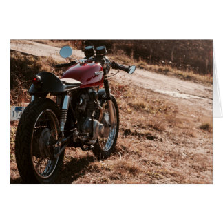 Vintage Café Racer in Cranberry Field Note Card
