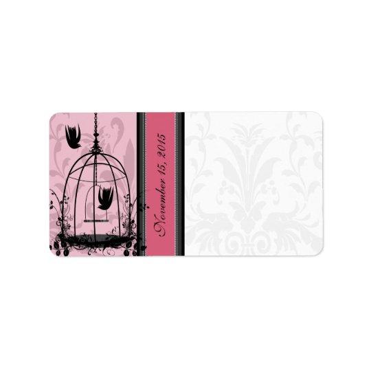 Vintage Cage Pink Bird & Black Damask Dots Label