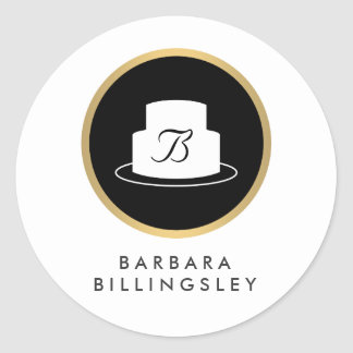 Vintage Cake Emblem Logo and Name Bakery Sticker