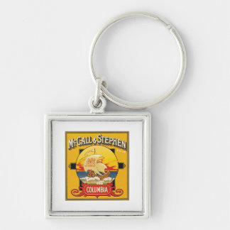 Vintage Cake Food Product Label Silver-Colored Square Key Ring