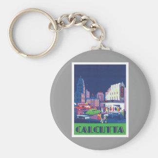 Vintage Calcutta Kolkata India Basic Round Button Key Ring