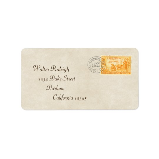 Vintage California '50 Centennial Address Label