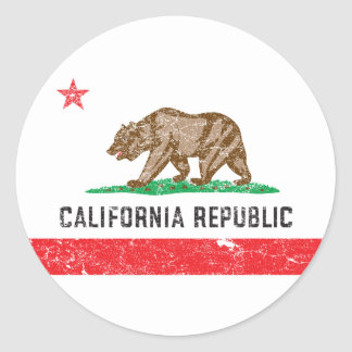 Vintage California Flag Classic Round Sticker