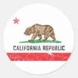 Vintage California Flag Round Stickers