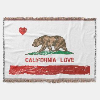 Vintage California Love State Flag Throw Blanket