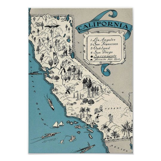 Vintage California Map Poster