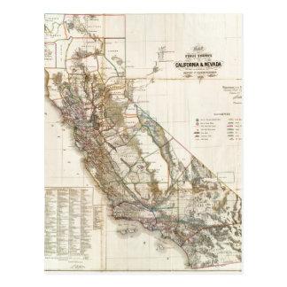 Vintage California Nevada Historic Map USA Postcard