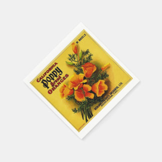 Vintage California Poppy Oranges Paper Napkins