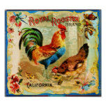 Vintage California Royal Rooster Poster