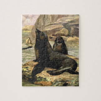 Vintage California Sea Lions by CE Swan Jigsaw Puzzle