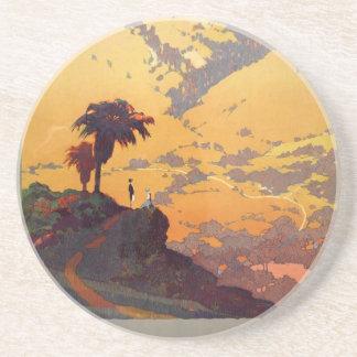 Vintage California Tourism Poster Scene Coaster