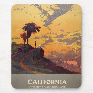 Vintage California Tourism Poster Scene Mouse Mat