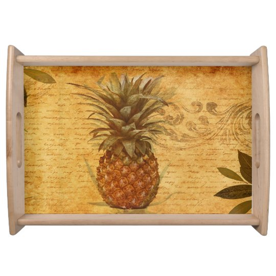 Vintage Calligraphy and Retro Pineapple Serving Trays