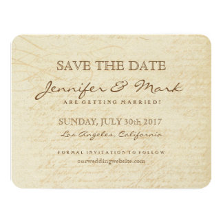 Vintage Calligraphy Background Save the Date Card 11 Cm X 14 Cm Invitation Card