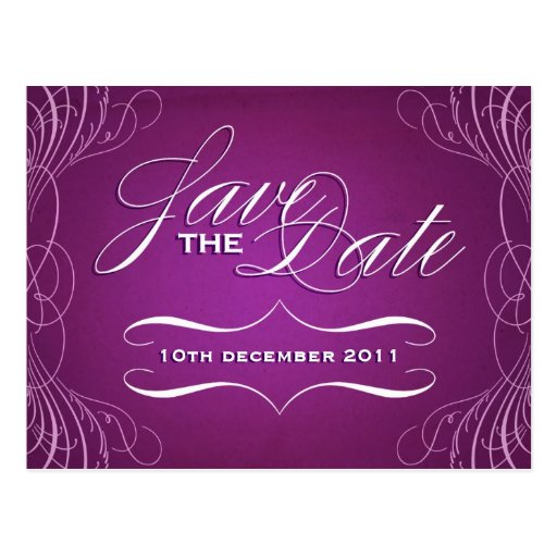 Vintage Calligraphy Save the Date postcard - purpl