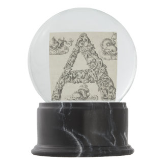 Vintage Calligraphy Script 'Letter A' Custom Snow Globes